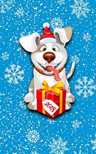Фото Собаки Новый год Снежинки Подарки 2018 Животные