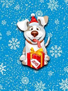 Фото Собаки Новый год Снежинка Подарков 2018 животное