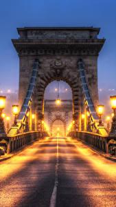 Картинка Венгрия Будапешт Мосты Львы Скульптуры Забор Ночь Уличные фонари HDRI Города