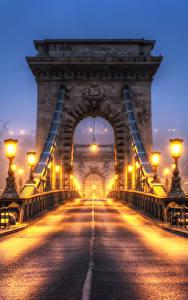 Картинка Венгрия Будапешт Мосты Львы Скульптуры Забор Ночь Уличные фонари HDRI
