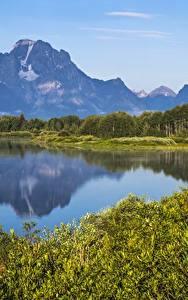 Обои для рабочего стола Горы Озеро Америка Парки Grand Teton National Park, Wyoming Природа