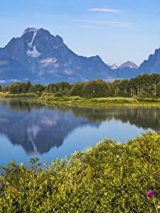 Обои Горы Озеро Америка Парки Grand Teton National Park, Wyoming