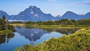 Обои Горы Озеро Штаты Парки Grand Teton National Park, Wyoming