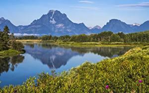 Обои Горы Озеро Америка Парки Grand Teton National Park, Wyoming Природа