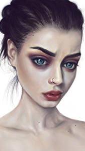 Фото Рисованные Взгляд Лица Брюнеток молодая женщина