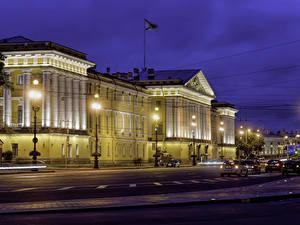 Обои Россия Санкт-Петербург Здания Вечер Улица Уличные фонари Admiralty Города