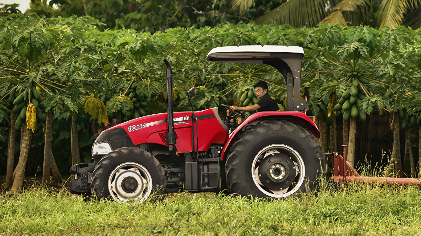 Картинка Сельскохозяйственная техника трактора 2015-19 Case IH Farmall 90JXM Сбоку 1366x768 Трактор тракторы