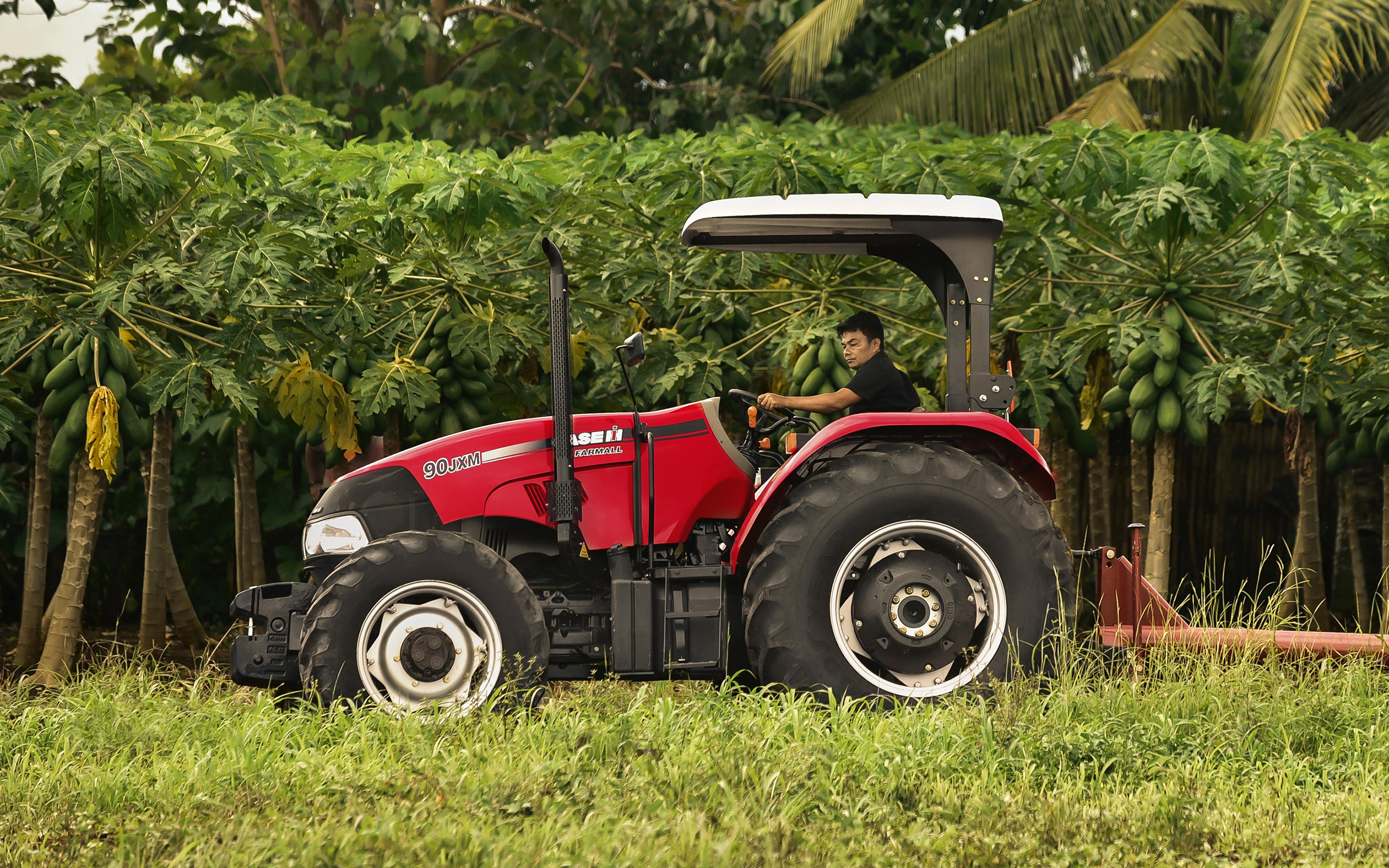 Картинка Сельскохозяйственная техника трактора 2015-19 Case IH Farmall 90JXM Сбоку 3840x2400 Трактор тракторы