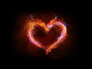 Обои Пламя Сердечко На черном фоне