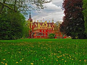 Обои Германия Замки Трава Muskau Castle