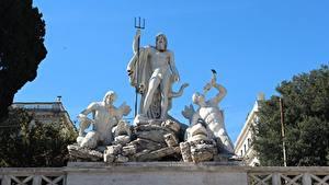 Картинка Рим Италия Скульптуры Мужчины Трезубец Piazza del Popolo Города