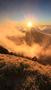 Фотография Рассветы и закаты Гора Пейзаж Траве Тумане Солнца