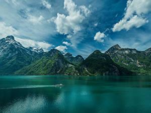 Фотография Швейцария Горы Озеро Небо Облака Isenthal Lake Lucerne Природа