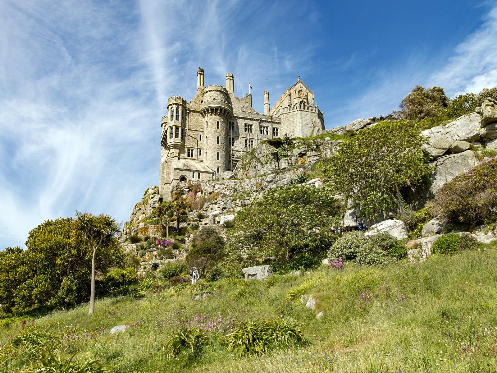 Обои для рабочего стола Франция St Michael's Mount Замки траве город 1600x1200 замок Трава Города