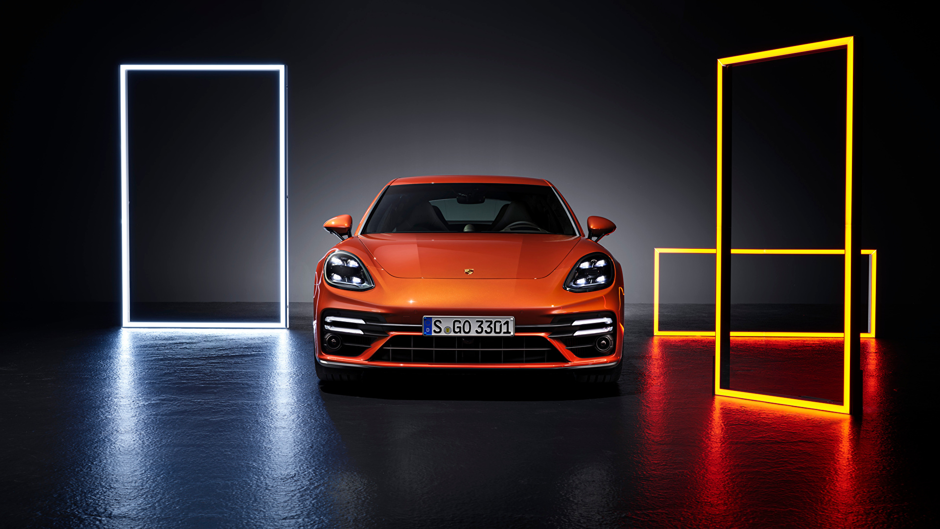 Фотография Porsche Panamera Turbo S (971), 2020 оранжевая машины Спереди Металлик 1920x1080 Порше Оранжевый оранжевые оранжевых авто машина Автомобили автомобиль