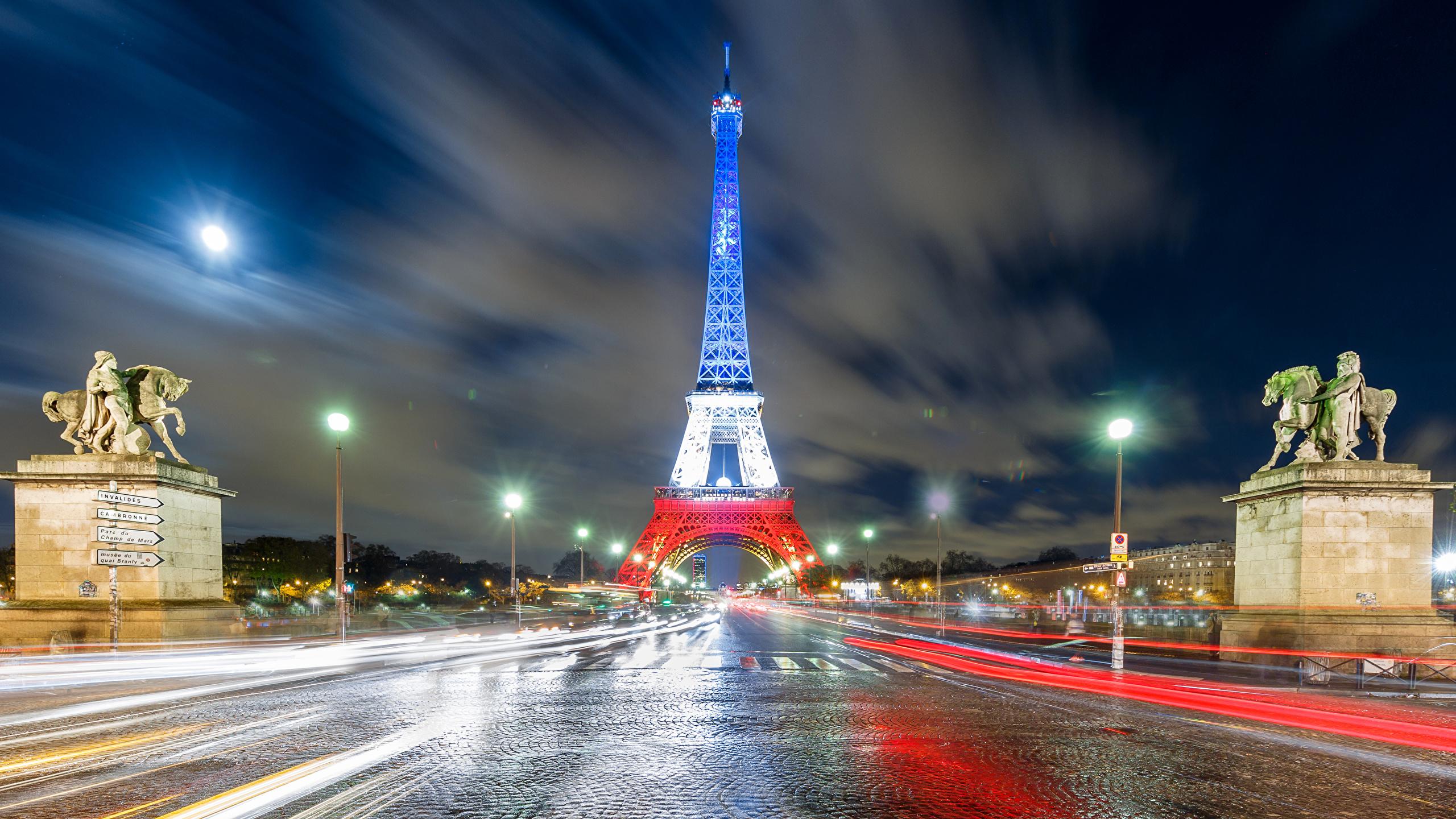 Франция дороги ночь фонари бесплатно
