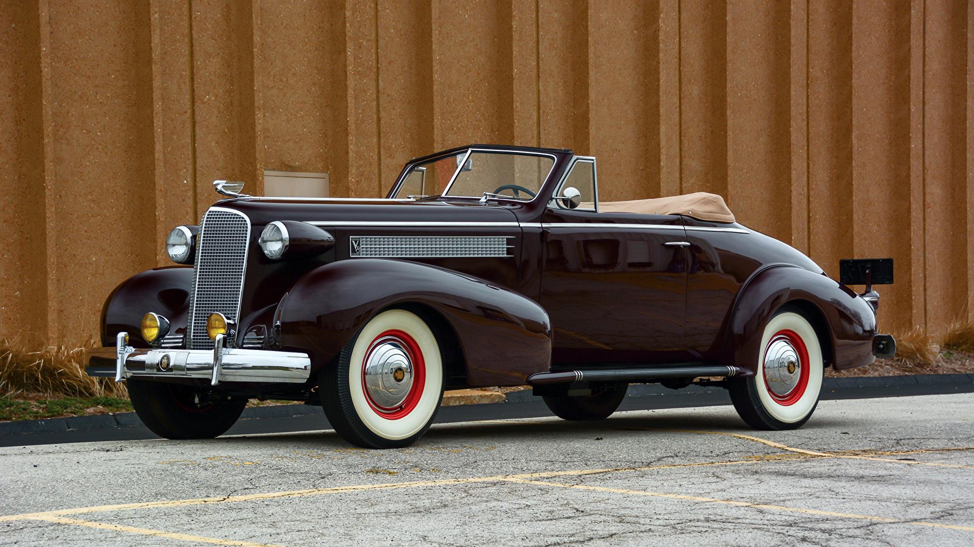 Фото Кадиллак 1937 Series 60 Convertible Coupe by Fisher кабриолета черная Металлик Автомобили 1920x1080 Cadillac Кабриолет черных черные Черный авто машина машины автомобиль