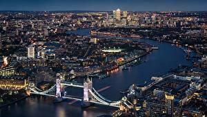 Фотографии Мосты Англия Речка Лондон Сверху