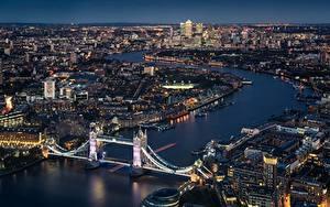 Фотографии Мосты Англия Речка Лондоне Сверху