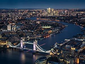 Фотографии Мосты Англия Речка Лондоне Сверху Города