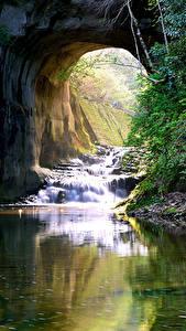 Картинки Япония Водопады Реки Скала Nomizo Falls Kimitsu