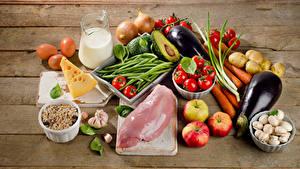 Обои Мясные продукты Овощи Молоко Сыры Грибы Яблоки Доски Кувшин Яйца