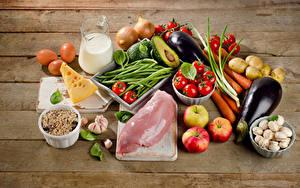 Обои Мясные продукты Овощи Молоко Сыры Грибы Яблоки Доски Кувшины Яиц