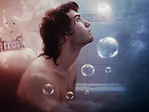 Фотографии Мужчина Мыльные пузыри Ванная Фантасмагория Красивые Фэнтези