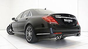Фотографии Mercedes-Benz Brabus Вид сзади Черных Фар Седан Металлик Гибридный автомобиль S-Klasse W222, 2015, B50 авто