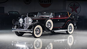 Обои Старинные Черный Металлик 1932 Packard Deluxe Eight Phaeton Автомобили