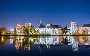Фото Россия Москва Монастырь Реки Вечер Novodevichy Convent Города