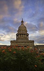 Фотографии Штаты Здания Небо Вечер Техас State Capitol