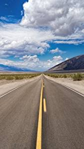 Фото Америка Дороги Небо Асфальт Калифорнии Облако Death Valley National Park Природа