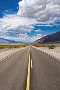 Фото Америка Дороги Небо Асфальт Калифорнии Облако Death Valley National Park