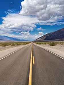 Фото Штаты Дороги Небо Асфальта Калифорнии Облачно Death Valley National Park