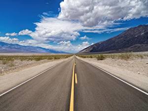 Фото Штаты Дороги Небо Асфальта Калифорнии Облачно Death Valley National Park Природа