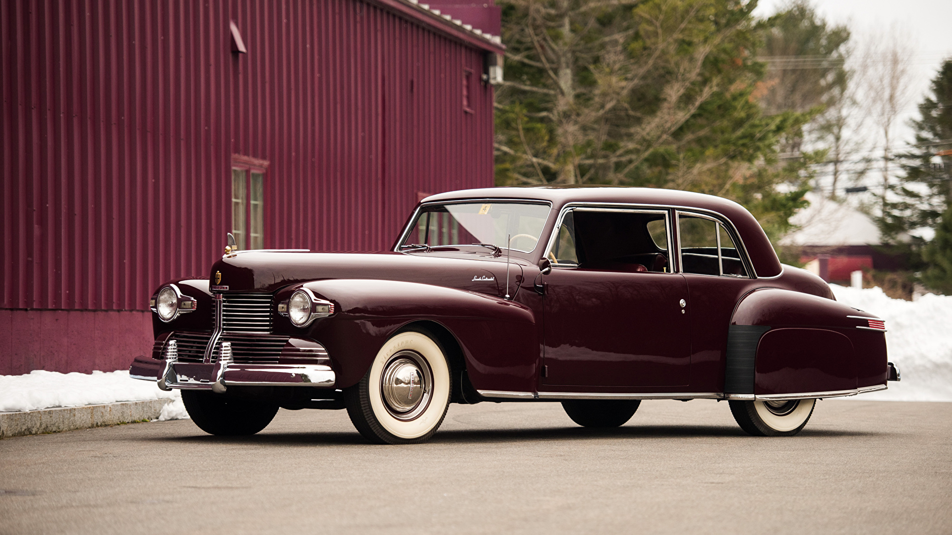 Картинка Lincoln 1942 Continental Coupe бордовая старинные авто Металлик 1920x1080 Ретро Винтаж бордовые Бордовый темно красный машина машины автомобиль Автомобили