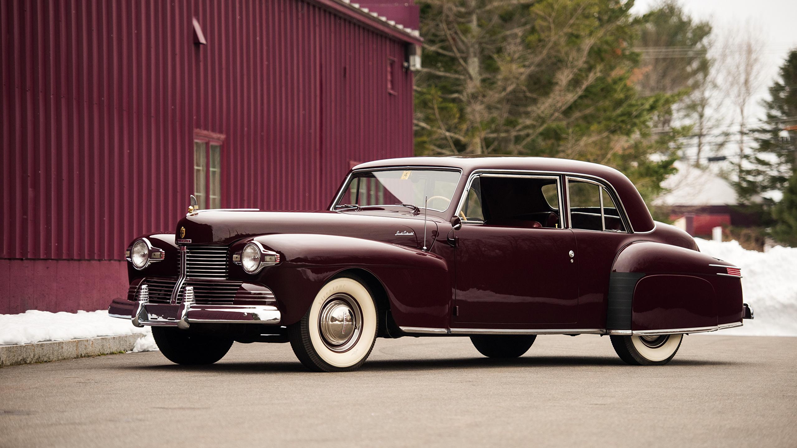 Картинка Lincoln 1942 Continental Coupe бордовая старинные авто Металлик 2560x1440 Ретро Винтаж бордовые Бордовый темно красный машина машины автомобиль Автомобили