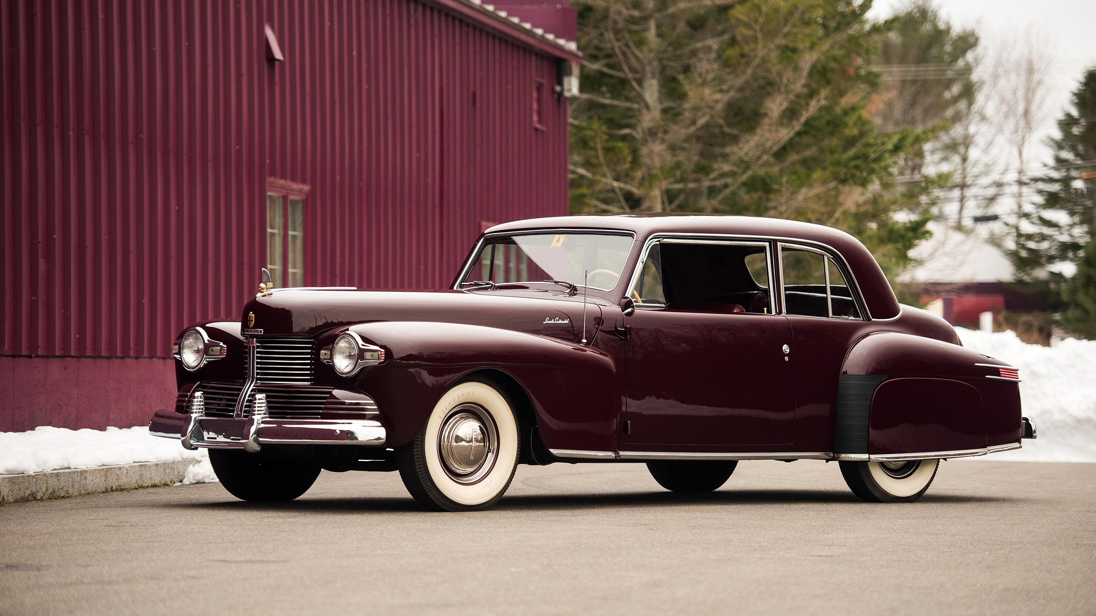 Картинка Lincoln 1942 Continental Coupe бордовая старинные авто Металлик 3840x2160 Ретро винтаж бордовые Бордовый темно красный машина машины автомобиль Автомобили