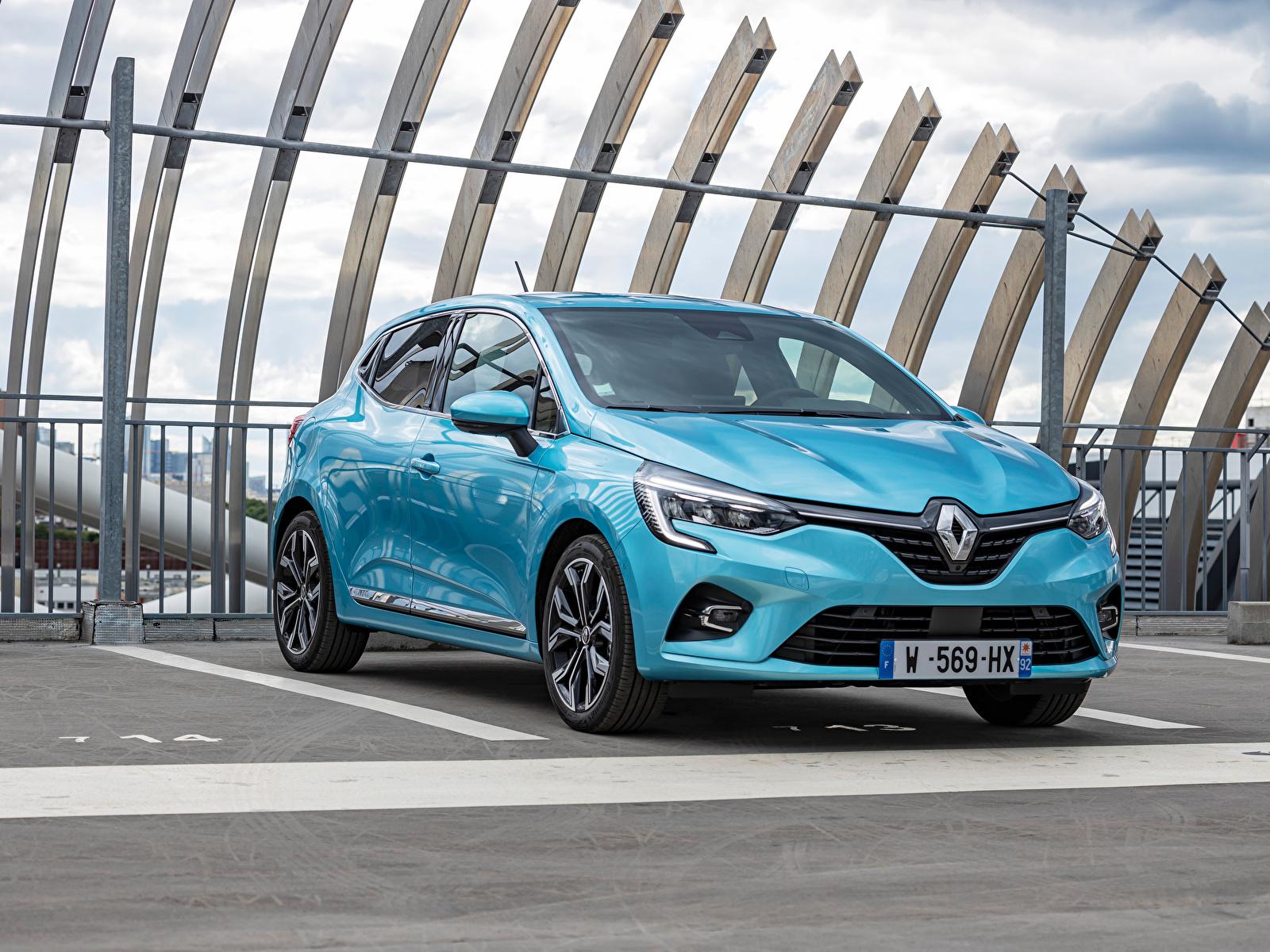 Фотография Рено Clio E-TECH, 2020 голубых авто Металлик 1600x1200 Renault голубая голубые Голубой машина машины Автомобили автомобиль