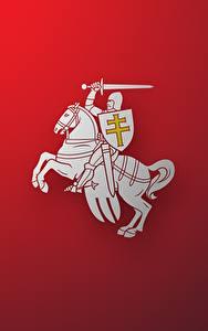 Фото Лошади Рыцарь Беларусь Красный фон Герб Herbas BNR