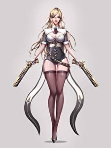 Обои Пистолетом Серый фон Красивые Ноги Чулки Блондинок jangwon park Фэнтези Девушки
