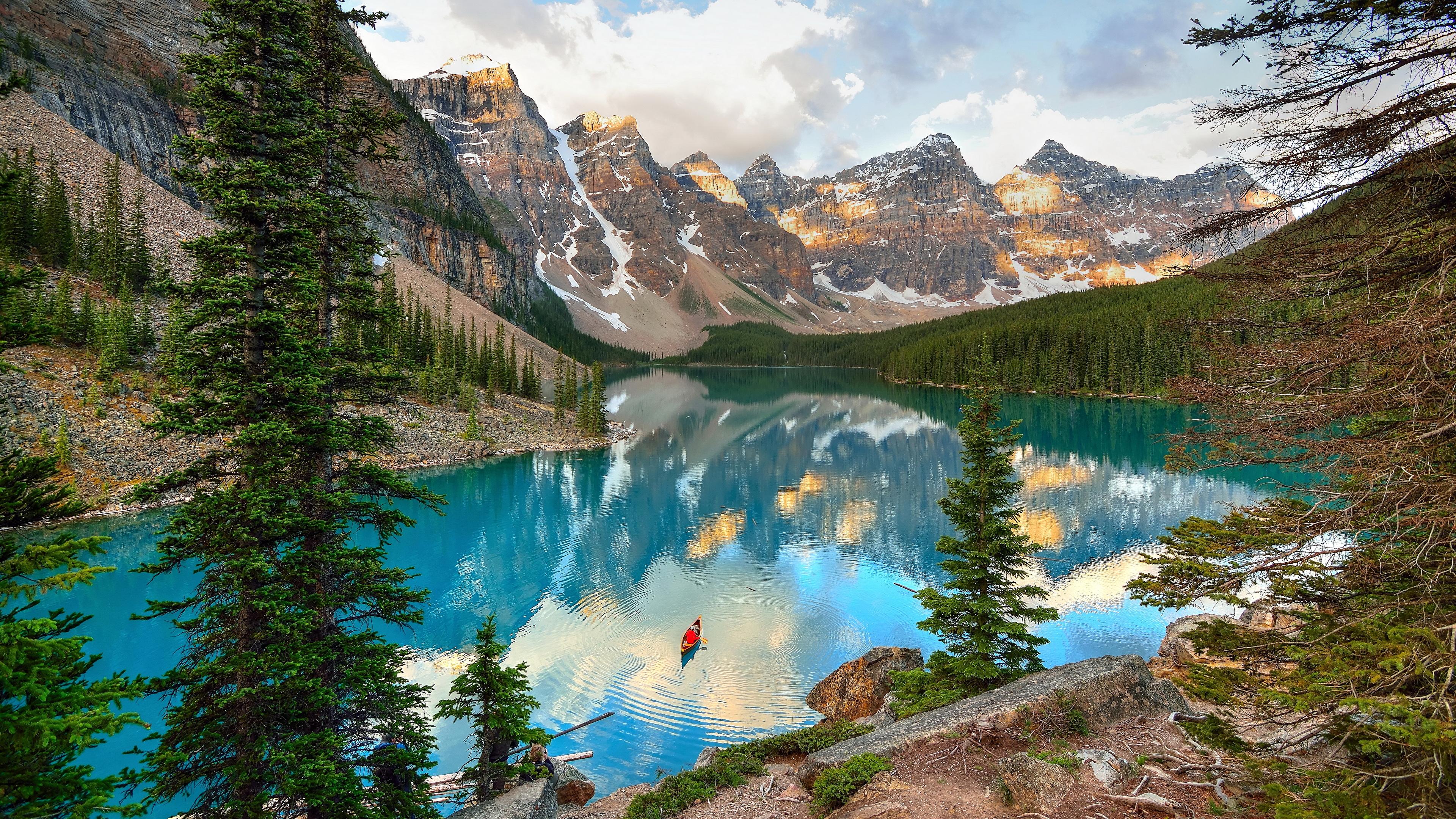 горы, ели, озеро, камни загрузить