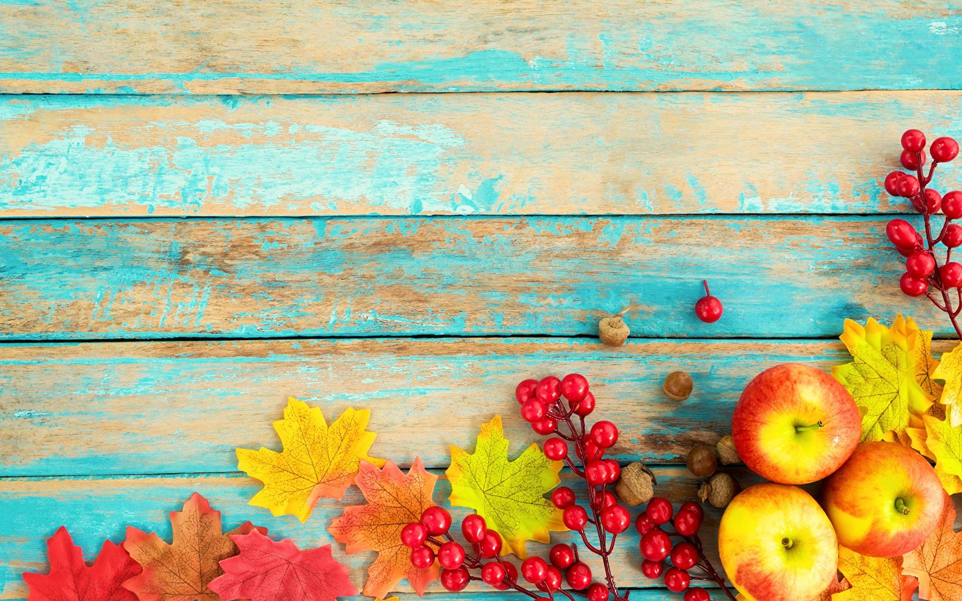 Картинка осенние Яблоки Продукты питания Шаблон поздравительной открытки Доски 1920x1200 Осень Еда Пища