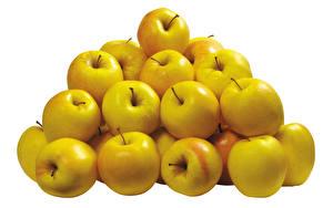 Картинки Фрукты Яблоки Много Белым фоном Продукты питания
