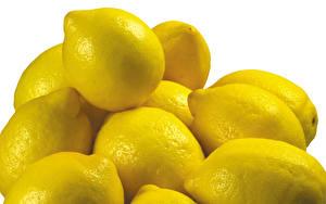 Фотографии Фрукты Лимоны Много Белый фон Еда