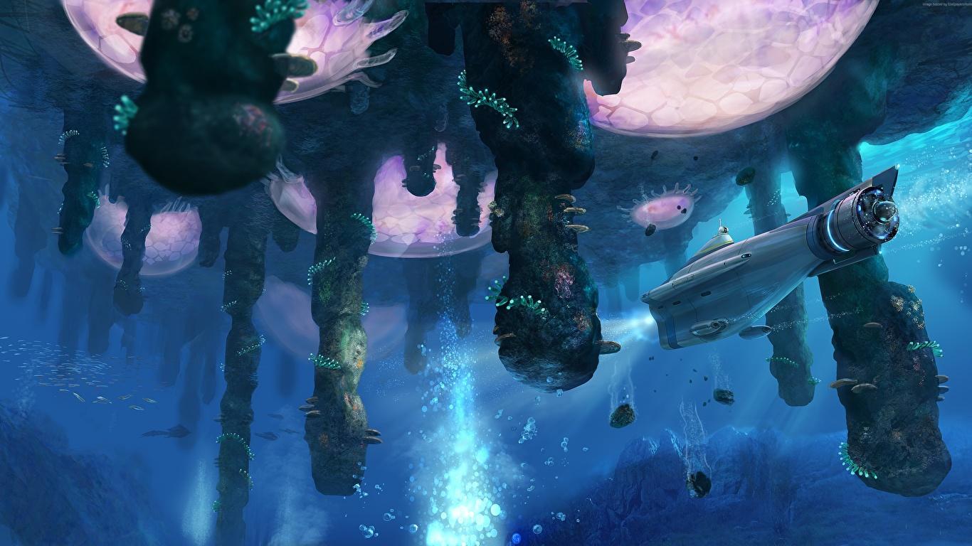 Картинки Подводный мир Подводные лодки Subnautica Фантастика Игры фантастическая техника 1366x768 Фэнтези компьютерная игра Техника Фэнтези