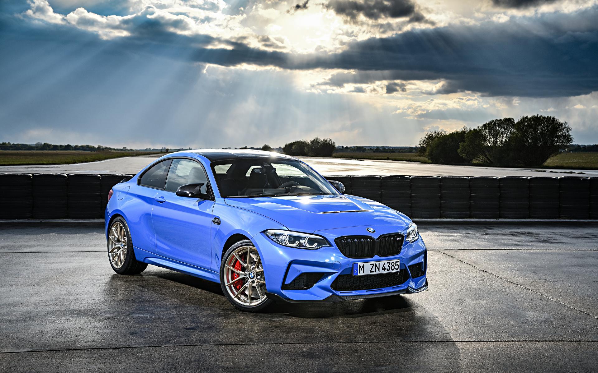 Фотография BMW 2019 M2 CS Worldwide голубая Металлик Автомобили 1920x1200 БМВ Голубой голубые голубых авто машины машина автомобиль
