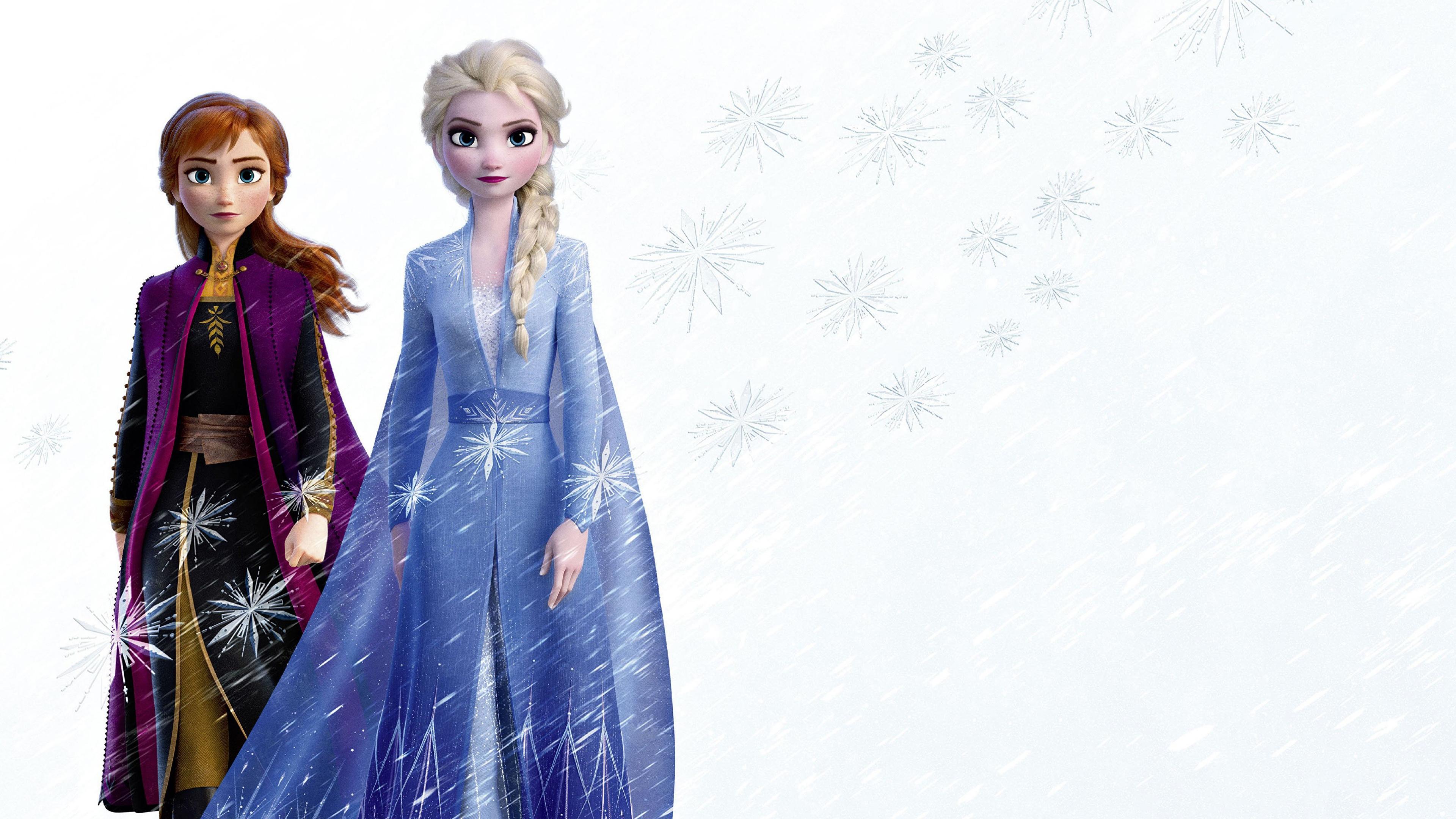 Картинка Дисней Холодное сердце косы Anna, Elsa 3д Мультики молодые женщины 3840x2160 Disney Коса косички мультик девушка Девушки 3D Графика Мультфильмы молодая женщина