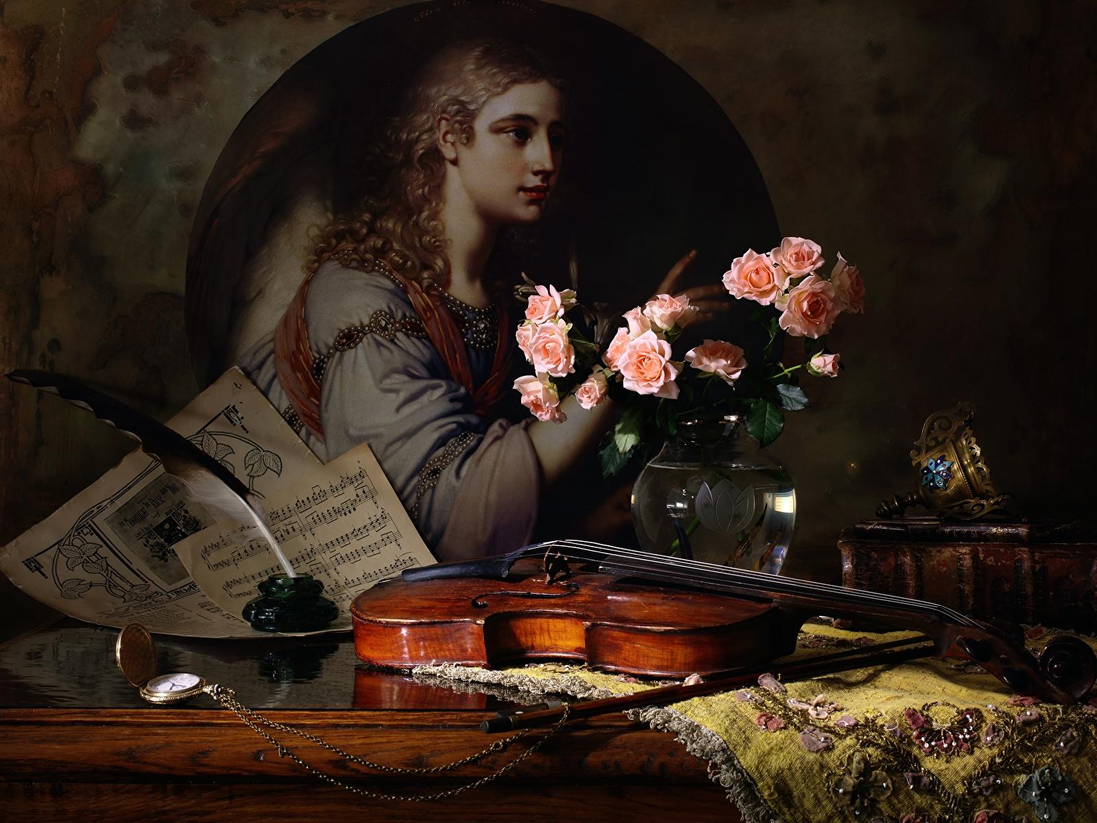 Картинка Скрипки Розы Перья Натюрморт 1600x1200 скрипка роза